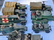 Rare Vintage 1940s Wwii Era Us Military Antique Wood Toy Lot Jeep Tank Truck Bus
