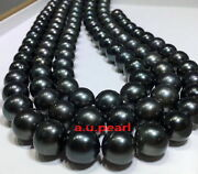 Long Aaaaa 4812-13mm Round Natural Real South Sea Black Pearl Necklace 14k Gold