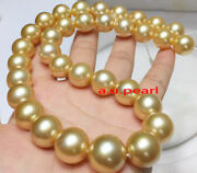 Aaaaa 2213-15mm Natural Real Round South Sea Golden Pearl Necklace 14k Gold