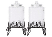 5 Gallon Hammered Glass Beverage Dispenser With Metal Stand 10 Gallons