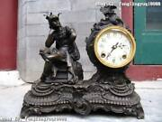14greece Myth Pure Bronze Copper And Marble Alexander Art Watch Clock Statue