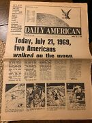 """Vintage Man On The Moon """"the Daily American"""" Italian Newspaper 1969 7/21/69 7/20"""