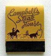 Very Rare Matchbook For Campbelland039s Steak House Elk City Ok - Ca. 1930and039s Mint