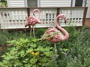 Pair Vintage Life Size American Flamingos Hand Made Brass 58 Lbs. Each
