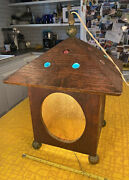 Vintage Arts And Crafts Mission Hanging Porch Entry Lantern Light Wood With Jewels