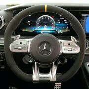 Mercedes-benz Oem C190 X290 Amg Gt Microfiber Steering Wheel With Yellow Stitch