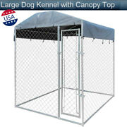 Outdoor Large Dog Kennel With Canopy Top Covered Play Exercise Pen Train Fence