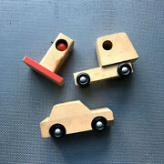 Lot Of 3 Wooden Mcm Toy Truck Car Gas Pump 1970s Creative Playthings Finland