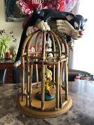 Rare Looney Tunes Sylvester The Cat And Tweety Bird Bamboo Cage Display 11