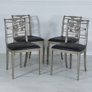 Set Of 4 Mahogany Traditional Dining Chairs Silver Leaf Finish Black Vinyl
