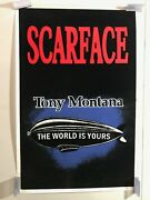 Vintage Nos Blacklight Poster Scarface 1817 23 X 35 The World Is Yours Rare Find
