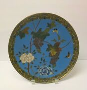 19th C. Chinese Cloisonne On Bronze 10.75 Charger, Meiji Period 1