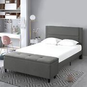 Zinus Wanda 48 Upholstered Platform Bed + Cushioned Headboard Storage Ottoman