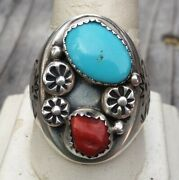 Sterling Silver Zuni Sb Turquoise And Red Coral Cast Menand039s Ring Sz11 18.9 Gr