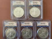 Set Of 2012 1 Oz Silver Eagles 5 Coins Pcgs Ms70 Special Large Flag Labels