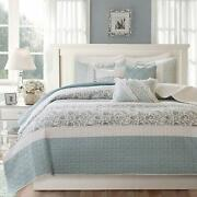 Madison Park Mp13-2801 Dawn 6 Piece Cotton Percale Quilted Coverlet Set, Blue