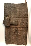Antique Authentic African Tribe Wood Carved Door With Lock Dogon, Mossi