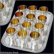 Rare French All Sterling Silver 18k Gold Liquor Cups 12 Pc W/tray Neoclassical