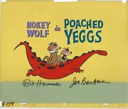 Hokey Wolf 1961 Poached Eggs Title Card. Original Animation Cel. Signed.
