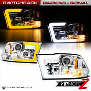 Chrome Projector Headlight For 09-18 Dodge Ram Switchback Led Drl Signal Lamp