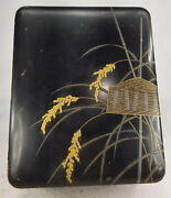 Antique Fine Japanese Black Lacquer Document Box As Is