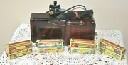 1930and039s Vintage Movie-jecktor Tin Toy Movie Projector + 8 Movies