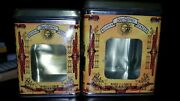 2 Vintage San Remo Tins Kitchen Canister Set With Plastic Window By Himark.