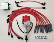 Ford 289 302 Red Small Female Cap Hei Distributor + 60k Coil + 8.5mm Plug Wires