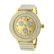 Mens Genuine Diamond Solid Stainless 18k Gold Tone Finish Ice House Watch W/date