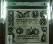 1852 5 And 10 Washington, Dc Proof Pair Bank Of The Republic Currency Pmg 64