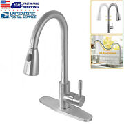 Single Handle High Arc Brushed Nickel Pull Down Sprayer Kitchen Faucet W/ Cover
