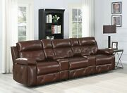 Power2 Brown 3 Recliner 2 Console Top Grain Leather Theater Seats Reclining Sofa