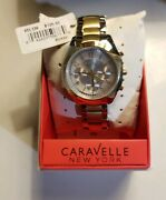 Bulova Caravelle New York Womens Watch Stainless Steel 2 Tone Pearl Face 45l136