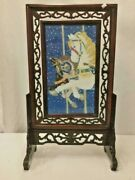 Antique Vintage Chinese Horse Painted Wood Lacquered Table Screen 24 Tall