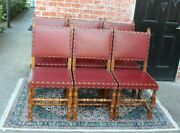 Set Of 6 French Antique Oak Louis Xiv Renaissance Upholstered Red Vinyl Chairs