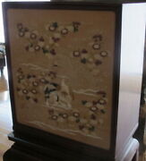 Very Rare Antique Chinese Valuables Cabinet 2 Sided Embroidered Front Pannel