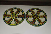 Rare Pair 2 French Art Deco Hb Quimper Majolica Oyster Plate Colored Design