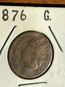 1876 1c Indian Head Cent Penny Coin Good Condition