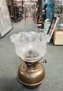 19th Century English Victorian Lampe Veritas Brass Etched Glass Shade Oil Lamp