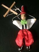 """Vintage 8"""" Pinocchio Carved Wood String Marionette Puppet Boy"""