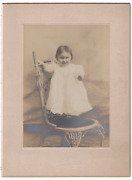 Antique Photograph Of Elizabeth Carrier Baby Standing On Stool - Batavia Ny