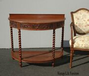 Antique French Ornately Carved Oak Barley Twist Demilune Entry Side Table W Cane