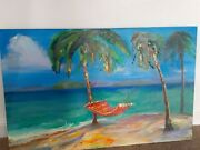 ❤ Painting Oil Large Size Unknown Artist 2019 Sea Palm Trees Size 110/ 90 Cm