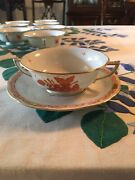 Herend Bouquet Rust Cream Soup Bowl 8 Oz And Soup Plate Set Of 10 New