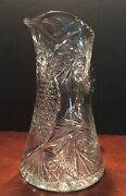 Stunning Large Abp Cut Glass Pitcher Pineapple Starburst Pattern Flawless 10inch
