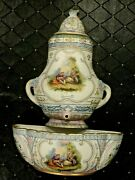 Antique German Porcelan Wall Pocket Fountain Planter Hand Painted W/havy Gold