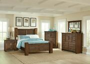4 Pc Rustic Wire Brushed Bourbon Finish Wood Block Posts Queen Bed Furniture Set