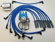 Ford 351c 429 460 Small Cap Hei Distributor + Blue 8.5mm Plug Wires + 60k Coil