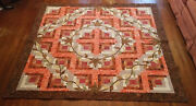 Autumn-fall Applique Leaf 80x80 Full/queen Log Cabin-size Quiltred-orange-brown