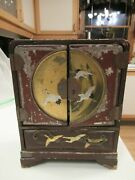 Vintage Chinese Wood And Metal Handpainted Jewelry Box W/drawers Copper Handles